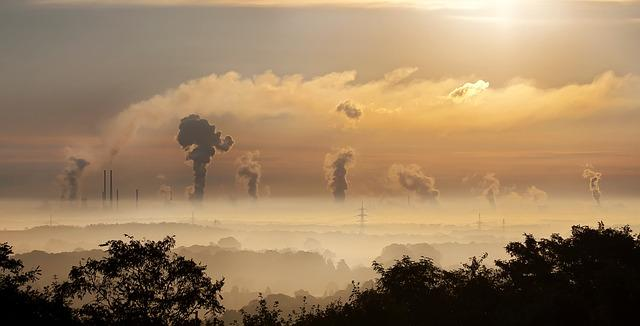 industry, sunrise, clouds